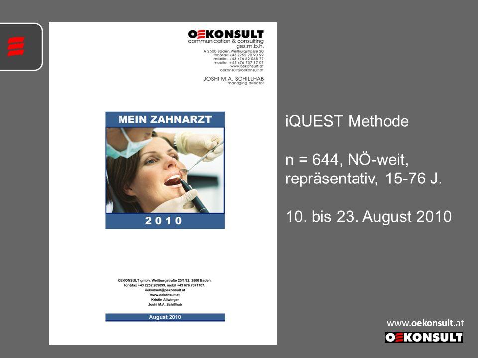 iQUEST Methode n = 644, NÖ-weit, repräsentativ, 15-76 J. 10. bis 23. August 2010 www.oekonsult.at