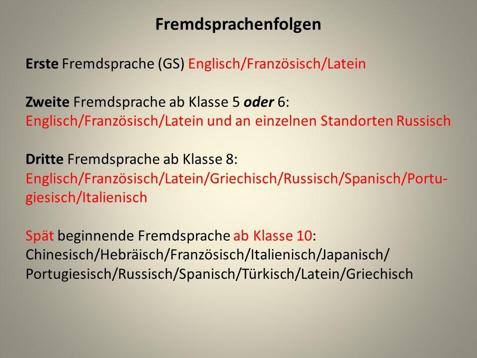 Fremdsprachenfolgen Erste Fremdsprache (GS) Englisch/Französisch/Latein Zweite Fremdsprache ab Klasse 5 oder 6: Englisch/Französisch/Latein und an ein