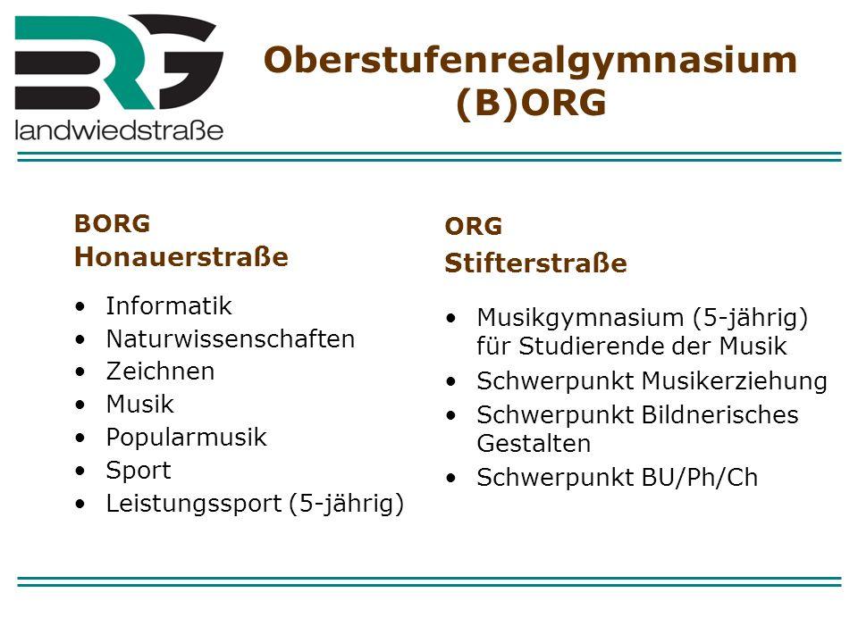 Oberstufenrealgymnasium (B)ORG BORG Honauerstraße Informatik Naturwissenschaften Zeichnen Musik Popularmusik Sport Leistungssport (5-jährig) ORG Stift