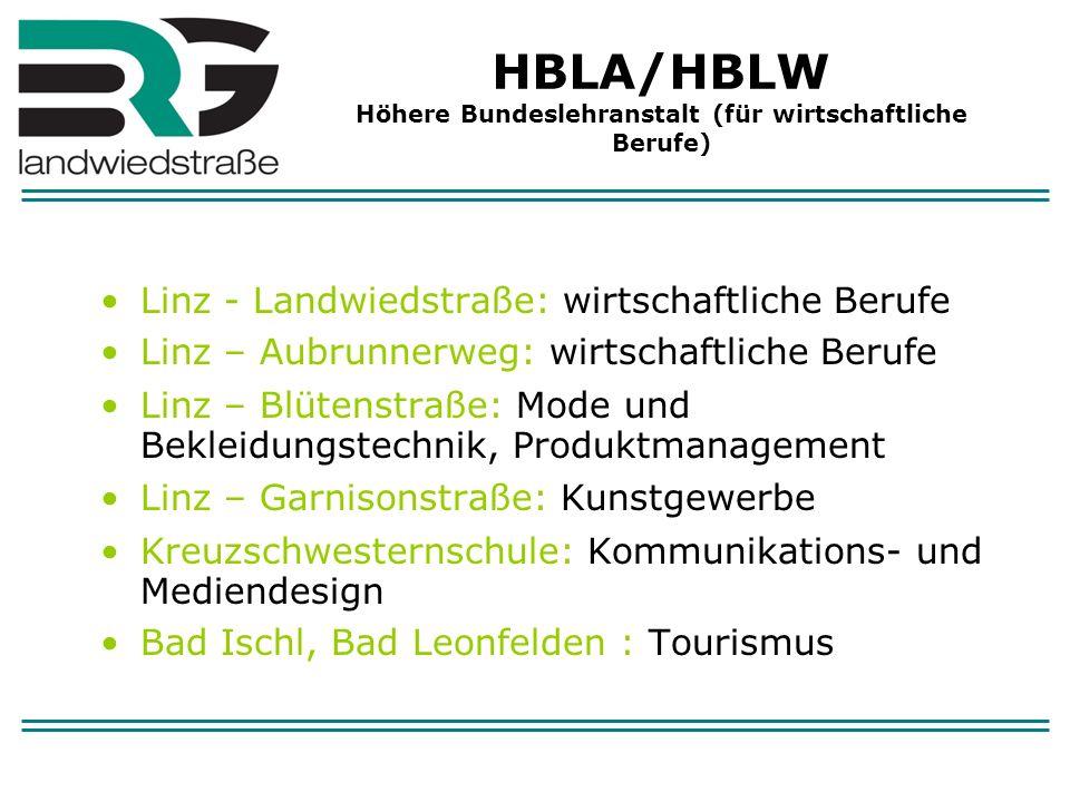 HBLA/HBLW Höhere Bundeslehranstalt (für wirtschaftliche Berufe) Linz - Landwiedstraße: wirtschaftliche Berufe Linz – Aubrunnerweg: wirtschaftliche Ber