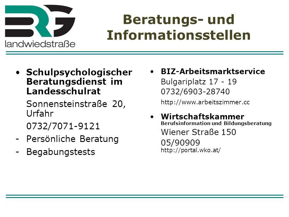 Beratungs- und Informationsstellen Schulpsychologischer Beratungsdienst im Landesschulrat Sonnensteinstraße 20, Urfahr 0732/7071-9121 -Persönliche Ber