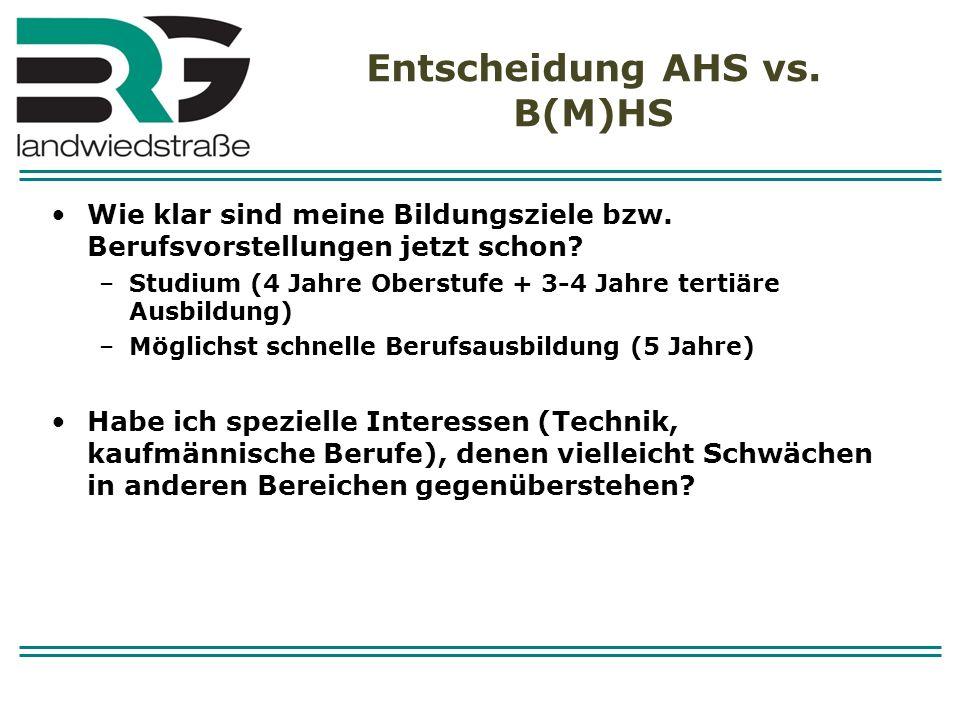 Entscheidung AHS vs. B(M)HS Wie klar sind meine Bildungsziele bzw. Berufsvorstellungen jetzt schon? –Studium (4 Jahre Oberstufe + 3-4 Jahre tertiäre A