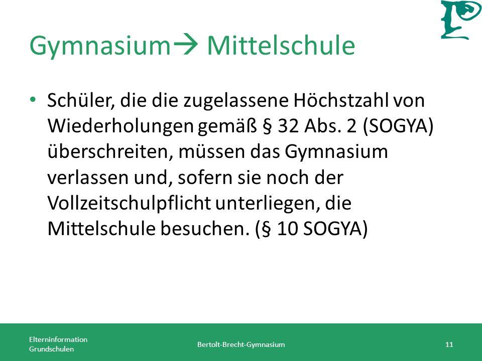 Gymnasium Mittelschule Schüler, die die zugelassene Höchstzahl von Wiederholungen gemäß § 32 Abs. 2 (SOGYA) überschreiten, müssen das Gymnasium verlas