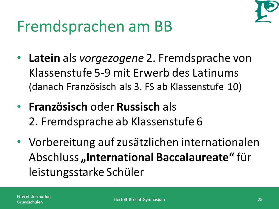Fremdsprachen am BB Latein als vorgezogene 2.
