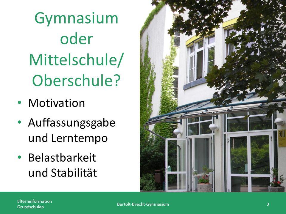 Gymnasium oder Mittelschule/ Oberschule.