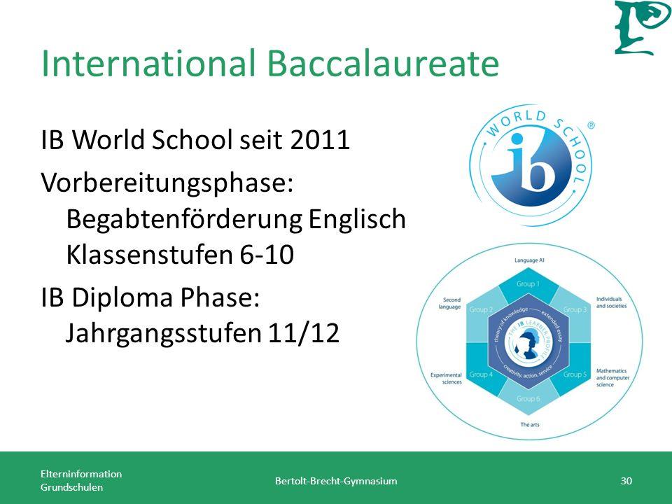 International Baccalaureate IB World School seit 2011 Vorbereitungsphase: Begabtenförderung Englisch Klassenstufen 6-10 IB Diploma Phase: Jahrgangsstufen 11/12 Elterninformation Grundschulen Bertolt-Brecht-Gymnasium30