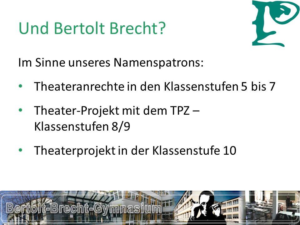 Und Bertolt Brecht? Elterninformation Grundschulen Bertolt-Brecht-Gymnasium34 Im Sinne unseres Namenspatrons: Theateranrechte in den Klassenstufen 5 b