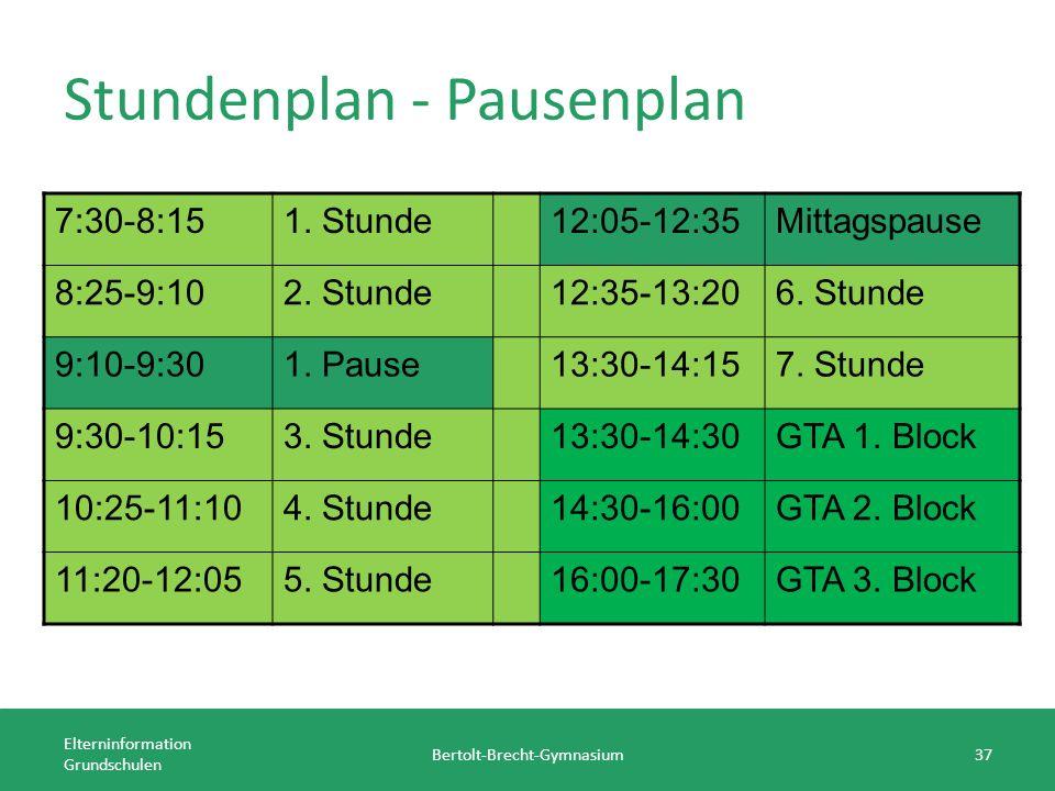 Stundenplan - Pausenplan Elterninformation Grundschulen Bertolt-Brecht-Gymnasium37 7:30-8:151. Stunde12:05-12:35Mittagspause 8:25-9:102. Stunde12:35-1