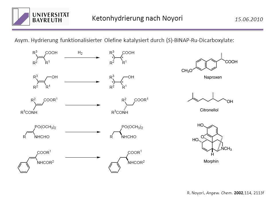 Ketonhydrierung nach Noyori 15.06.2010 R. Noyori, Angew. Chem. 2002,114, 2113f Asym. Hydrierung funktionalisierter Olefine katalysiert durch (S)-BINAP