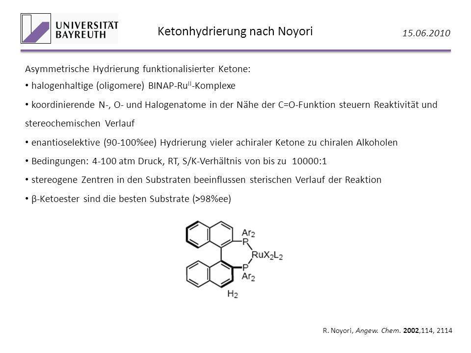 Ketonhydrierung nach Noyori 15.06.2010 R. Noyori, Angew. Chem. 2002,114, 2114 Asymmetrische Hydrierung funktionalisierter Ketone: halogenhaltige (olig