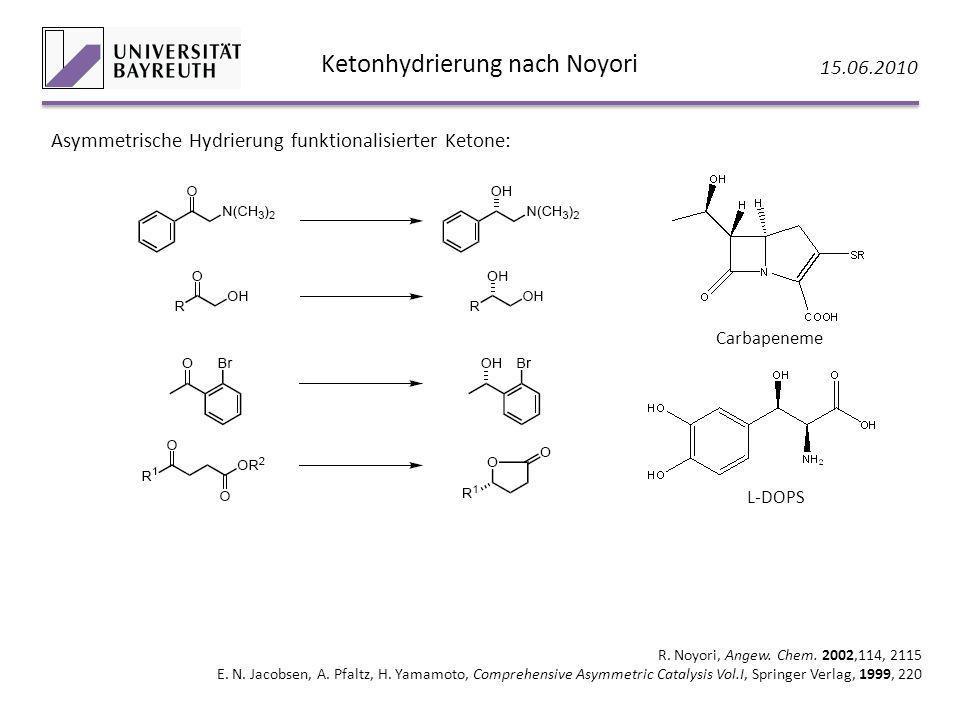 Ketonhydrierung nach Noyori 15.06.2010 R. Noyori, Angew. Chem. 2002,114, 2115 E. N. Jacobsen, A. Pfaltz, H. Yamamoto, Comprehensive Asymmetric Catalys