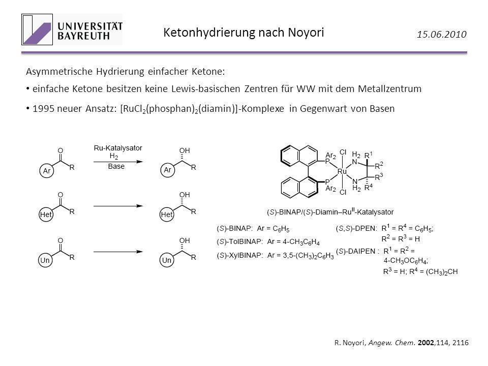 Ketonhydrierung nach Noyori 15.06.2010 R. Noyori, Angew. Chem. 2002,114, 2116 Asymmetrische Hydrierung einfacher Ketone: einfache Ketone besitzen kein