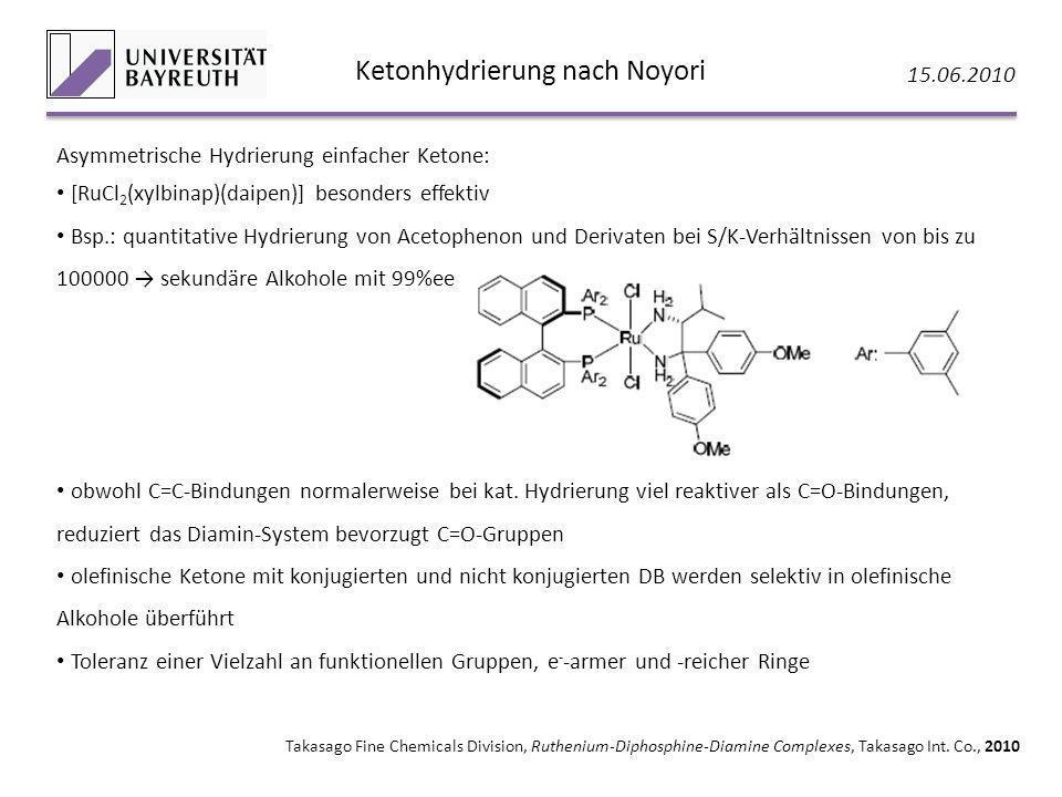 Ketonhydrierung nach Noyori 15.06.2010 Takasago Fine Chemicals Division, Ruthenium-Diphosphine-Diamine Complexes, Takasago Int. Co., 2010 Asymmetrisch