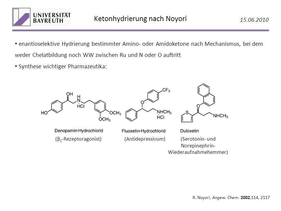 Ketonhydrierung nach Noyori 15.06.2010 R. Noyori, Angew. Chem. 2002,114, 2117 enantioselektive Hydrierung bestimmter Amino- oder Amidoketone nach Mech