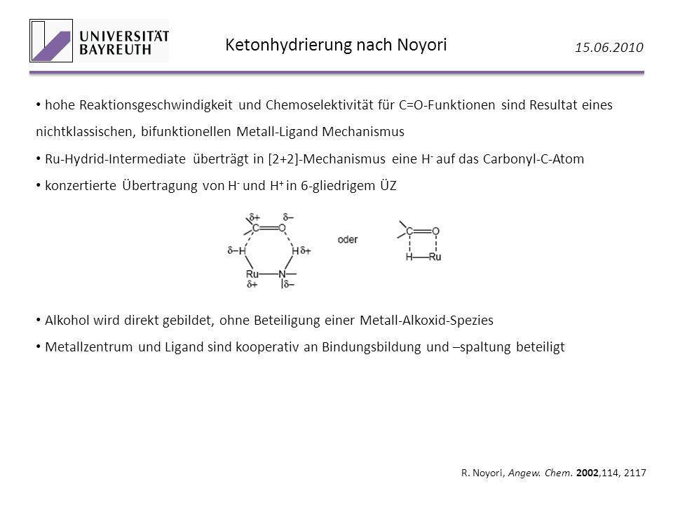 Ketonhydrierung nach Noyori 15.06.2010 R. Noyori, Angew. Chem. 2002,114, 2117 hohe Reaktionsgeschwindigkeit und Chemoselektivität für C=O-Funktionen s