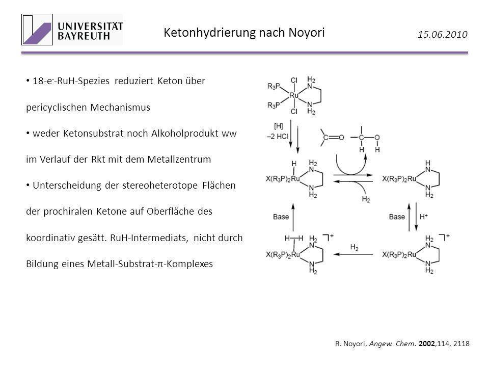 Ketonhydrierung nach Noyori 15.06.2010 R. Noyori, Angew. Chem. 2002,114, 2118 18-e - -RuH-Spezies reduziert Keton über pericyclischen Mechanismus wede