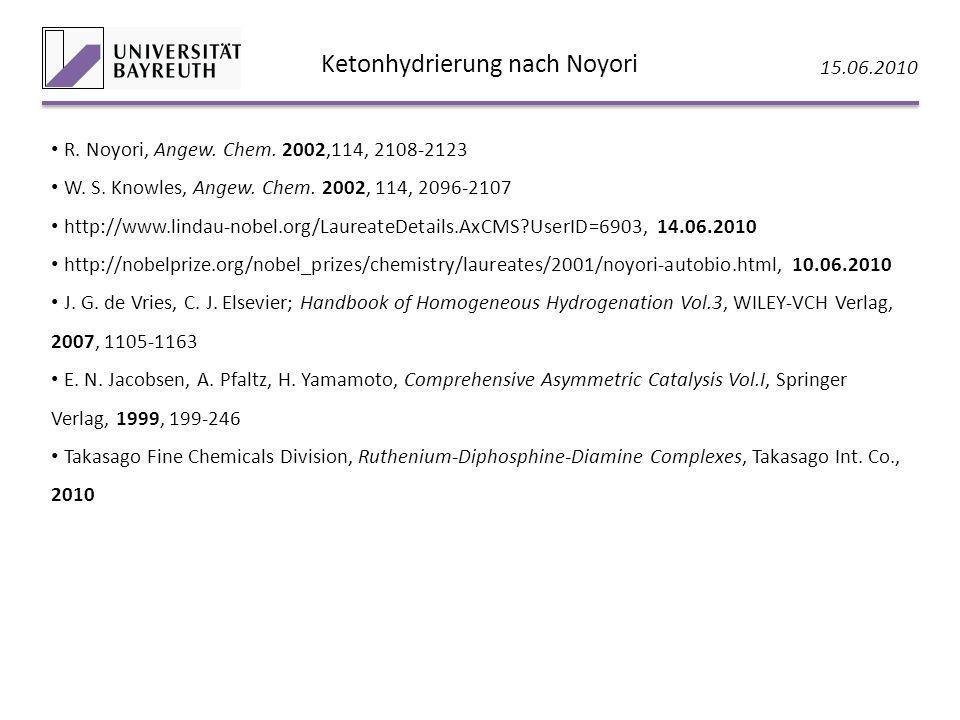 Ketonhydrierung nach Noyori 15.06.2010 R. Noyori, Angew. Chem. 2002,114, 2108-2123 W. S. Knowles, Angew. Chem. 2002, 114, 2096-2107 http://www.lindau-