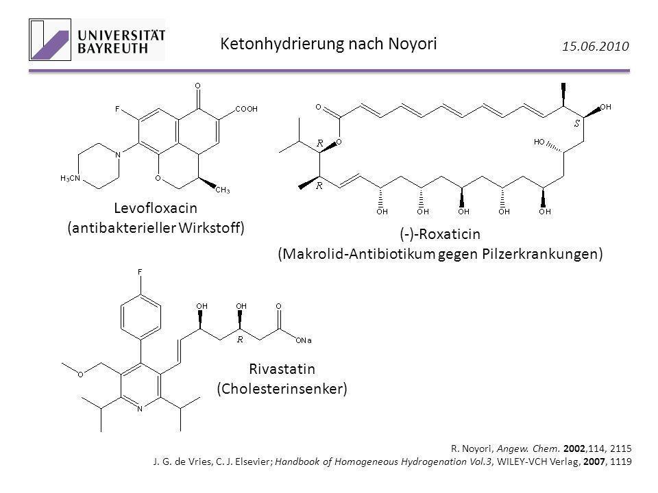 Ketonhydrierung nach Noyori 15.06.2010 R. Noyori, Angew. Chem. 2002,114, 2115 J. G. de Vries, C. J. Elsevier; Handbook of Homogeneous Hydrogenation Vo