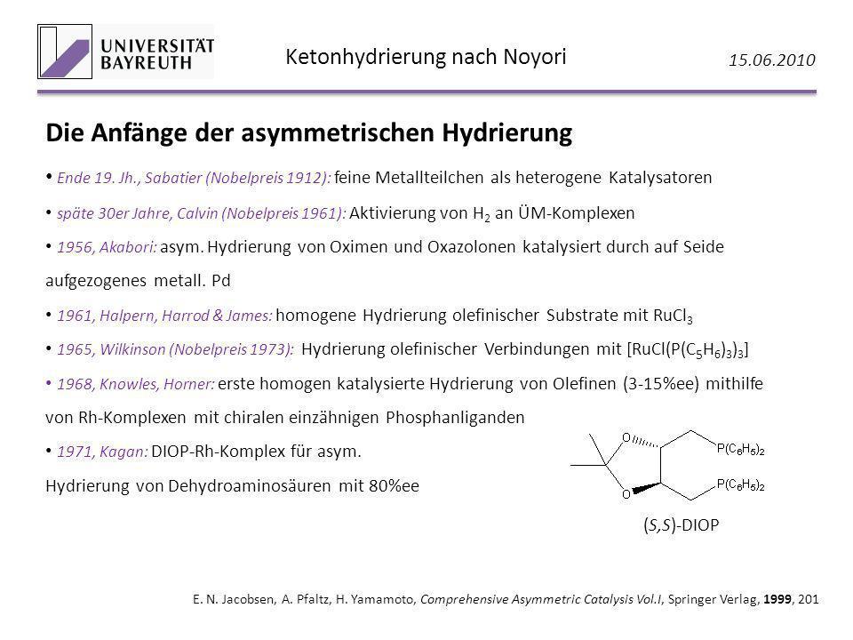 Ketonhydrierung nach Noyori 15.06.2010 E. N. Jacobsen, A. Pfaltz, H. Yamamoto, Comprehensive Asymmetric Catalysis Vol.I, Springer Verlag, 1999, 201 Di
