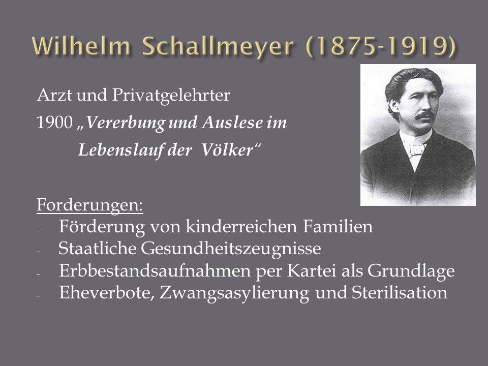 Arzt und Privatgelehrter 1900 Vererbung und Auslese im Lebenslauf der Völker Forderungen: - Förderung von kinderreichen Familien - Staatliche Gesundhe