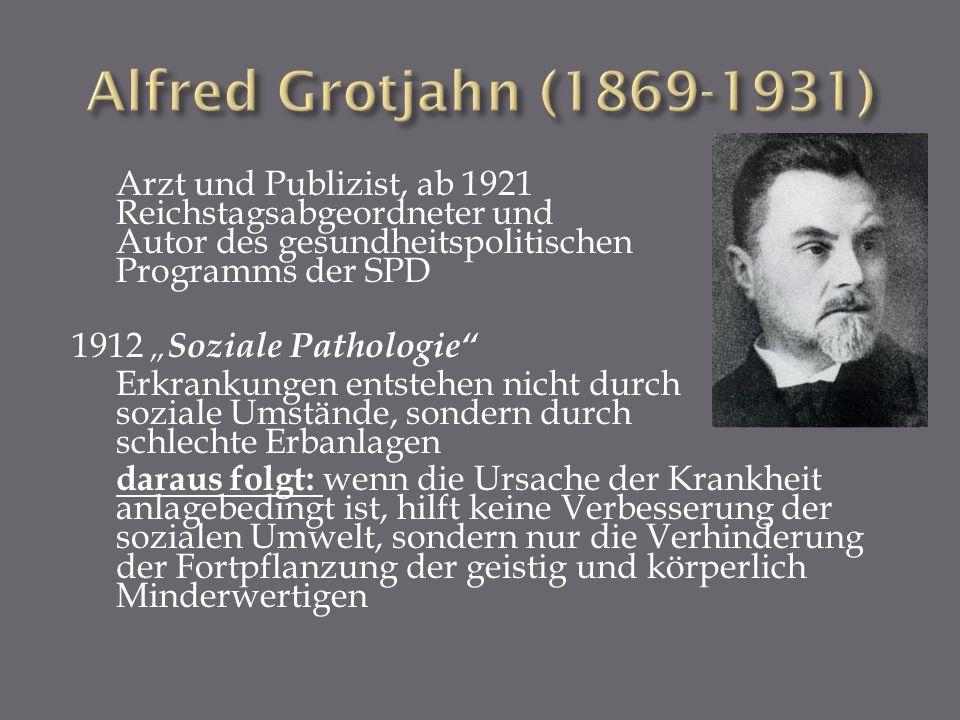 Arzt und Publizist, ab 1921 Reichstagsabgeordneter und Autor des gesundheitspolitischen Programms der SPD 1912 Soziale Pathologie Erkrankungen entsteh