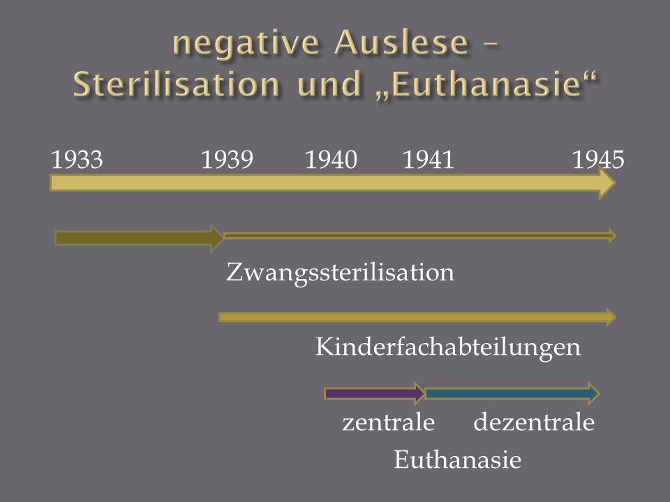 1933 1939 1940 1941 1945 Zwangssterilisation Kinderfachabteilungen zentrale dezentrale Euthanasie