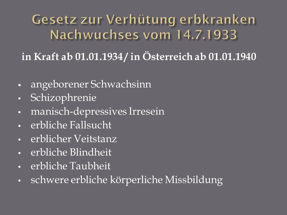 in Kraft ab 01.01.1934 / in Österreich ab 01.01.1940 angeborener Schwachsinn Schizophrenie manisch-depressives Irresein erbliche Fallsucht erblicher V