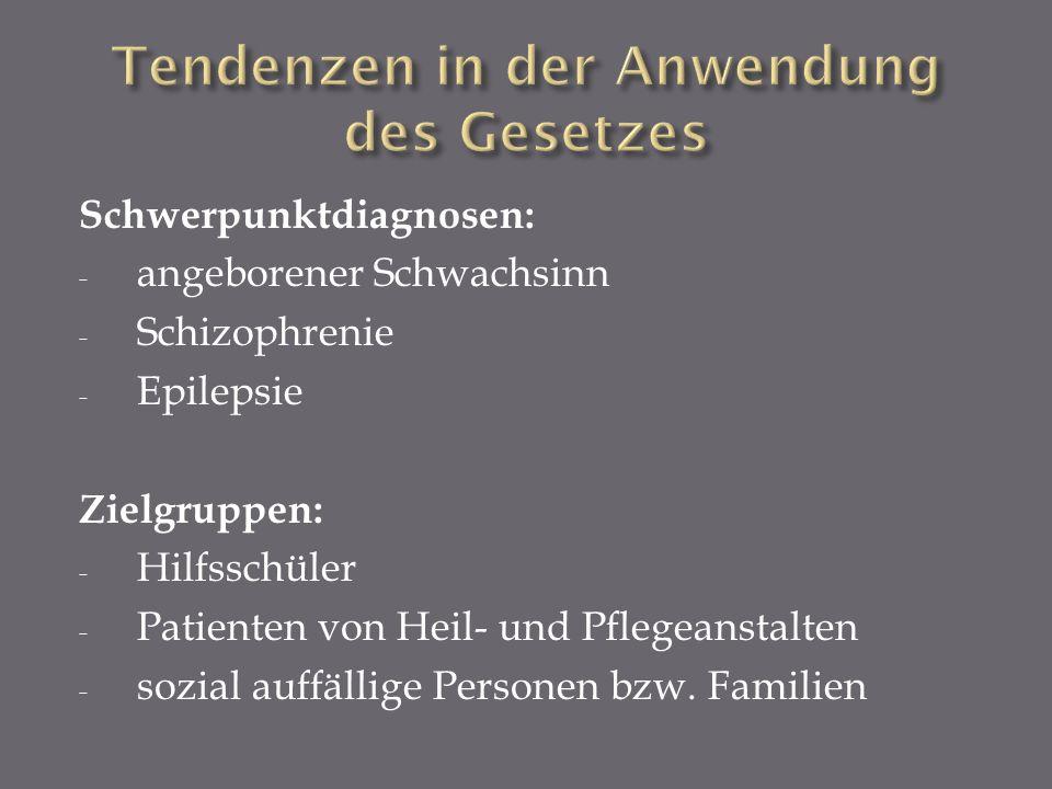Schwerpunktdiagnosen: - angeborener Schwachsinn - Schizophrenie - Epilepsie Zielgruppen: - Hilfsschüler - Patienten von Heil- und Pflegeanstalten - so