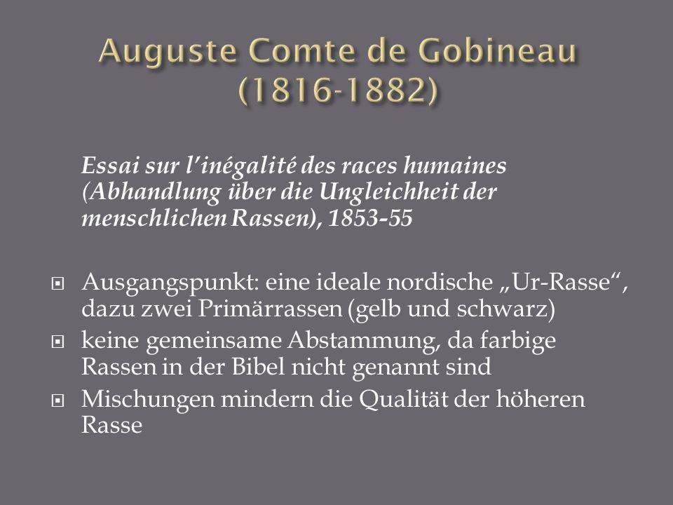 Essai sur linégalité des races humaines ( Abhandlung über die Ungleichheit der menschlichen Rassen), 1853-55 Ausgangspunkt: eine ideale nordische Ur-R