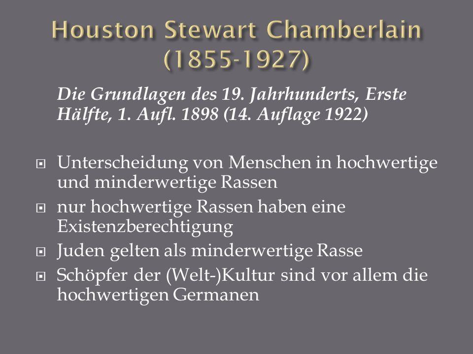 Die Grundlagen des 19. Jahrhunderts, Erste Hälfte, 1. Aufl. 1898 (14. Auflage 1922) Unterscheidung von Menschen in hochwertige und minderwertige Rasse