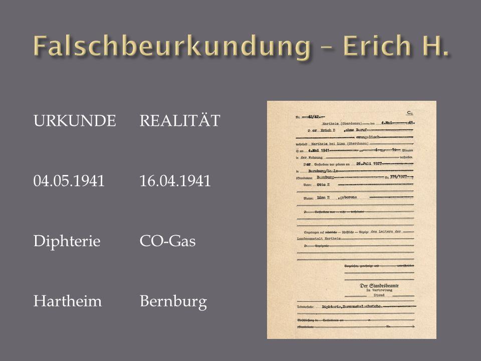URKUNDEREALITÄT 04.05.194116.04.1941 DiphterieCO-Gas HartheimBernburg