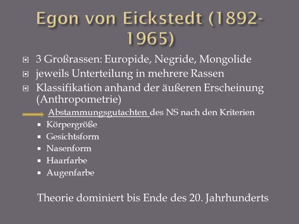 3 Großrassen: Europide, Negride, Mongolide jeweils Unterteilung in mehrere Rassen Klassifikation anhand der äußeren Erscheinung (Anthropometrie) Absta