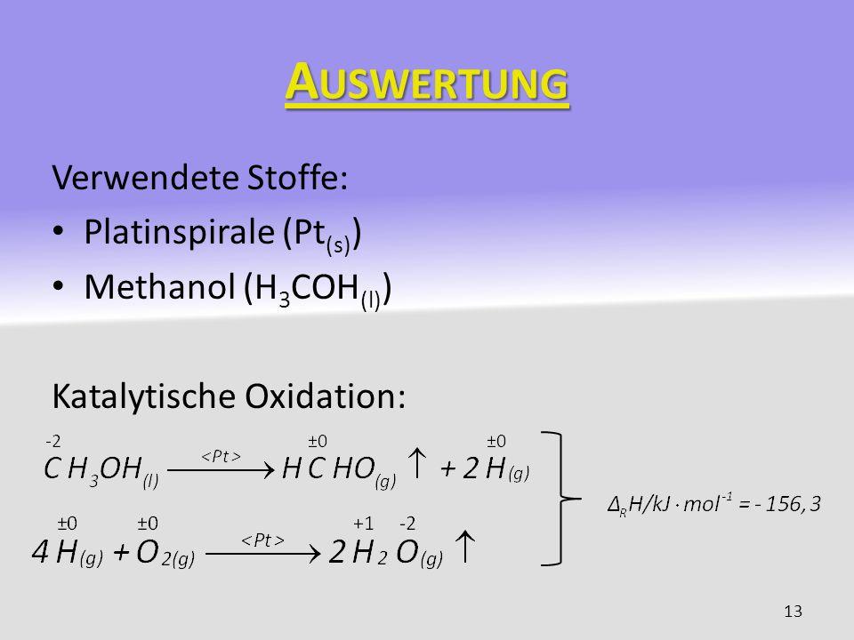 A USWERTUNG Verwendete Stoffe: Platinspirale (Pt (s) ) Methanol (H 3 COH (l) ) Katalytische Oxidation: 13