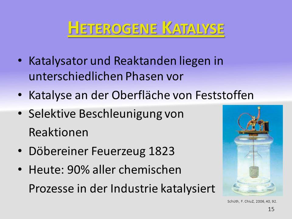 H ETEROGENE K ATALYSE Katalysator und Reaktanden liegen in unterschiedlichen Phasen vor Katalyse an der Oberfläche von Feststoffen Selektive Beschleun