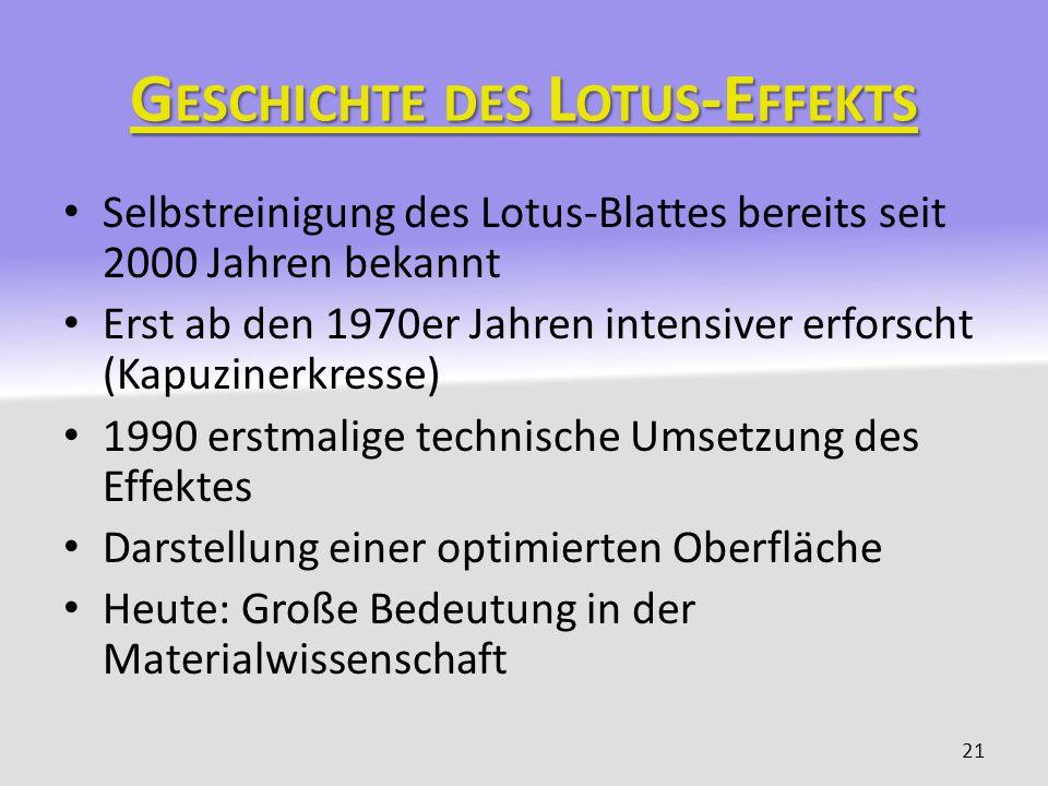 G ESCHICHTE DES L OTUS -E FFEKTS Selbstreinigung des Lotus-Blattes bereits seit 2000 Jahren bekannt Erst ab den 1970er Jahren intensiver erforscht (Ka