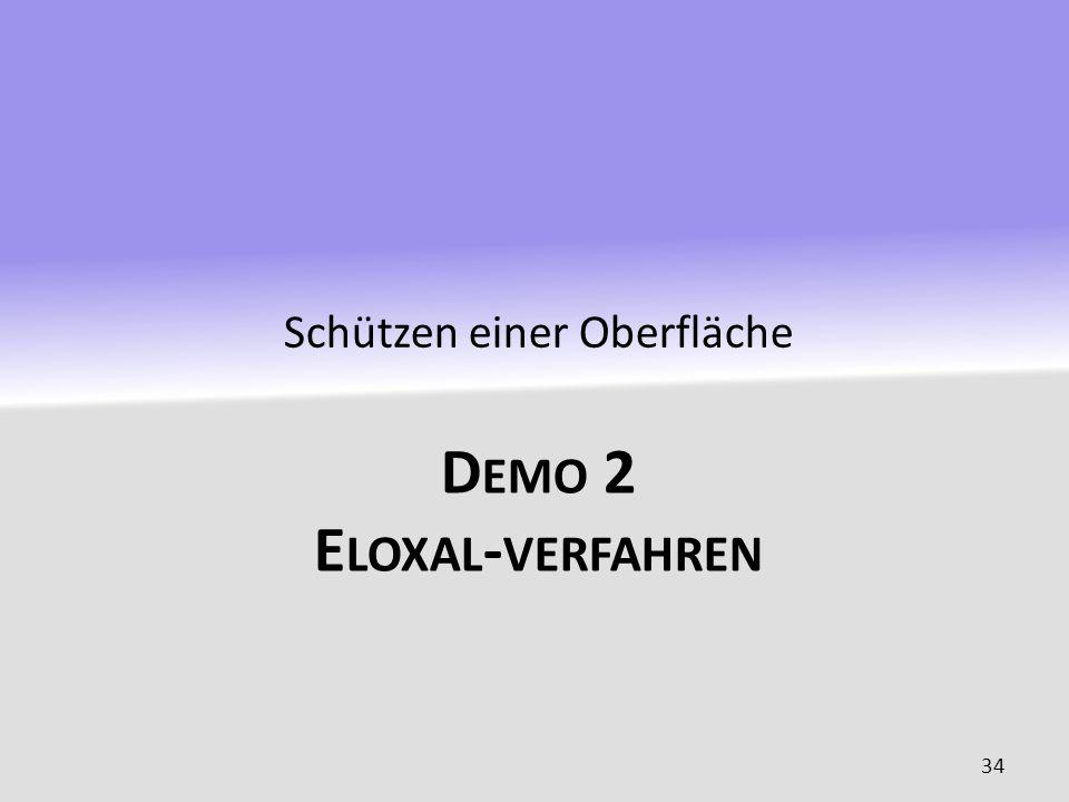 D EMO 2 E LOXAL - VERFAHREN Schützen einer Oberfläche 34