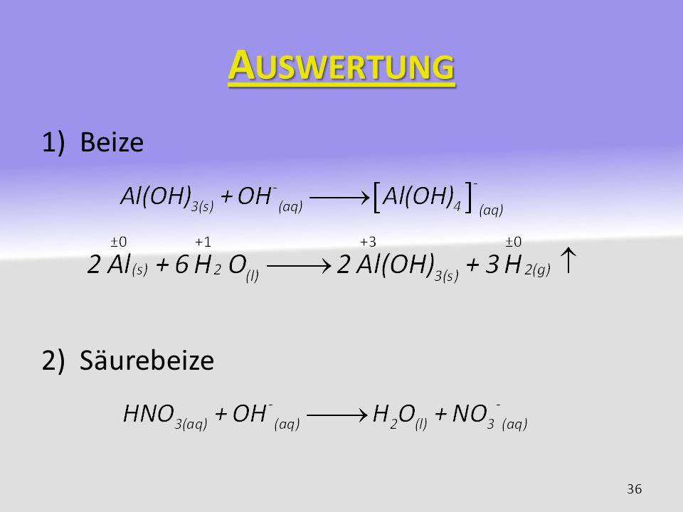 A USWERTUNG 1)Beize 2)Säurebeize 36