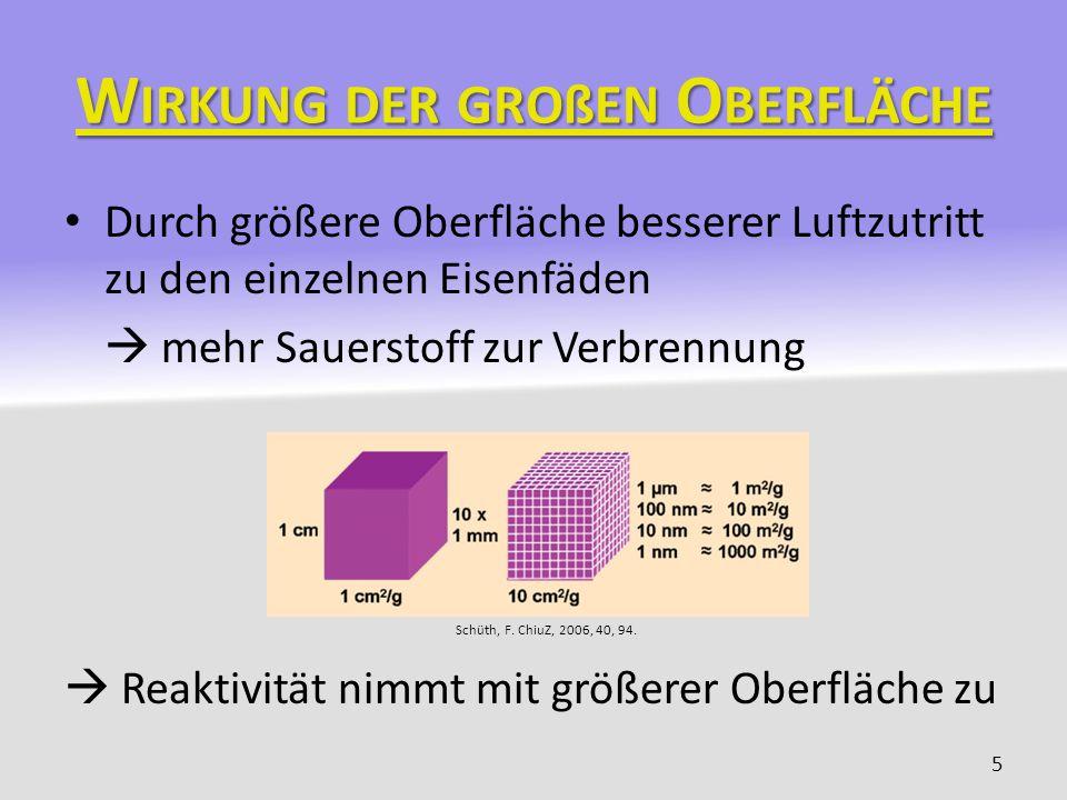 W IRKUNG DER GROßEN O BERFLÄCHE Durch größere Oberfläche besserer Luftzutritt zu den einzelnen Eisenfäden mehr Sauerstoff zur Verbrennung Reaktivität