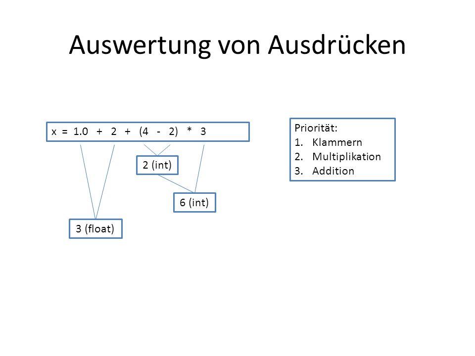 Auswertung von Ausdrücken x = 1.0 + 2 + (4 - 2) * 3 Priorität: 1.Klammern 2.Multiplikation 3.Addition 2 (int) 6 (int) 3 (float)