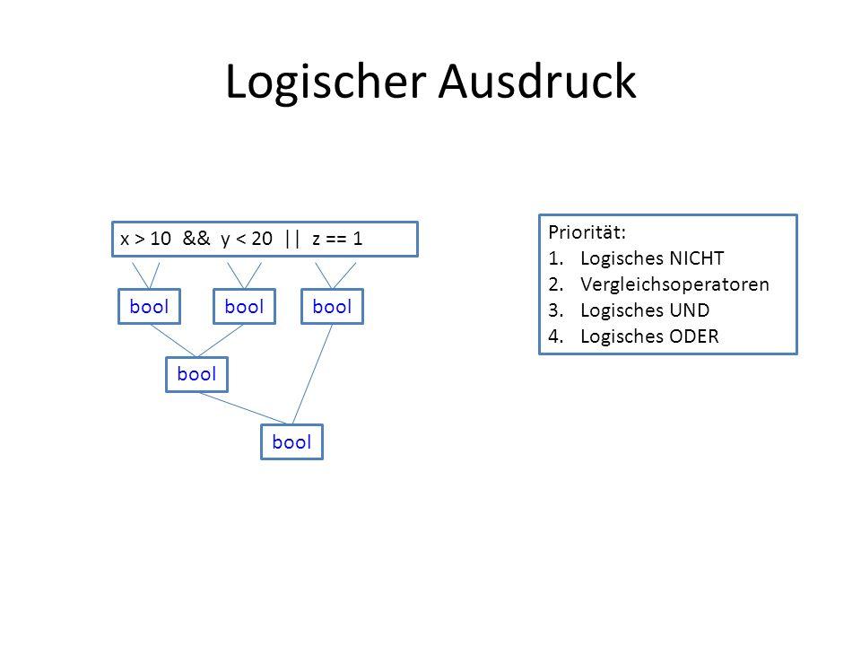 Logischer Ausdruck x > 10 && y < 20 || z == 1 Priorität: 1.Logisches NICHT 2.Vergleichsoperatoren 3.Logisches UND 4.Logisches ODER bool