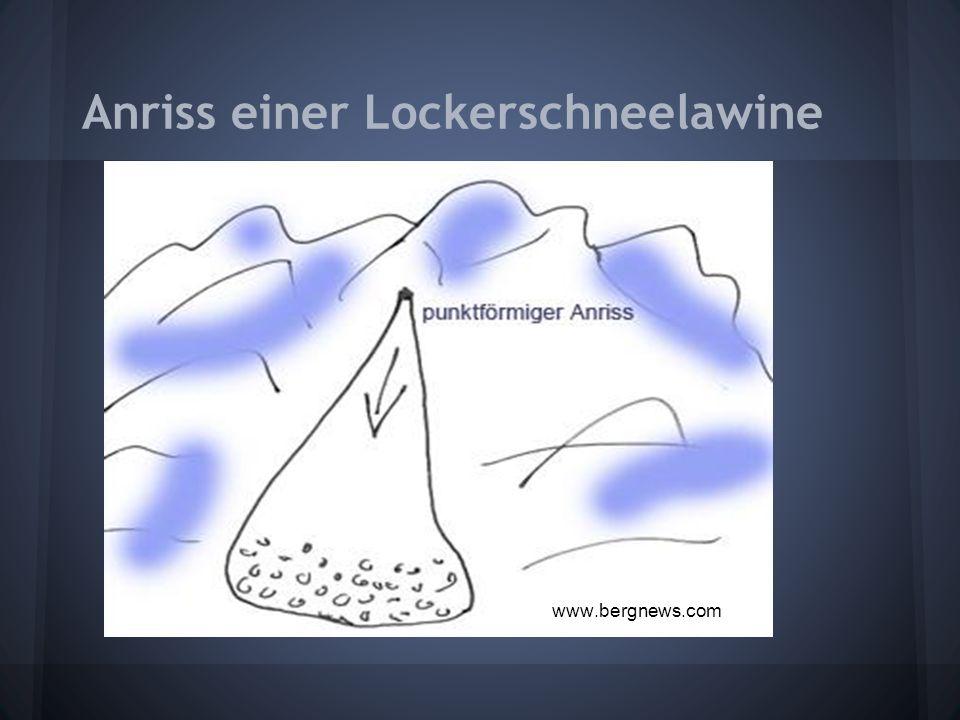 Anriss einer Lockerschneelawine www.bergnews.com