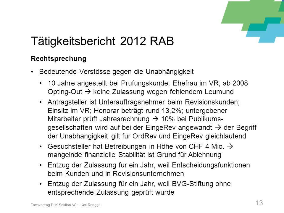 Fachvortrag THK Sektion AG – Karl Renggli 13 Tätigkeitsbericht 2012 RAB Rechtsprechung Bedeutende Verstösse gegen die Unabhängigkeit 10 Jahre angestel
