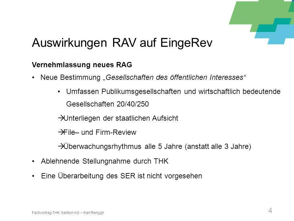 Fachvortrag THK Sektion AG – Karl Renggli 4 Auswirkungen RAV auf EingeRev Vernehmlassung neues RAG Neue Bestimmung Gesellschaften des öffentlichen Int