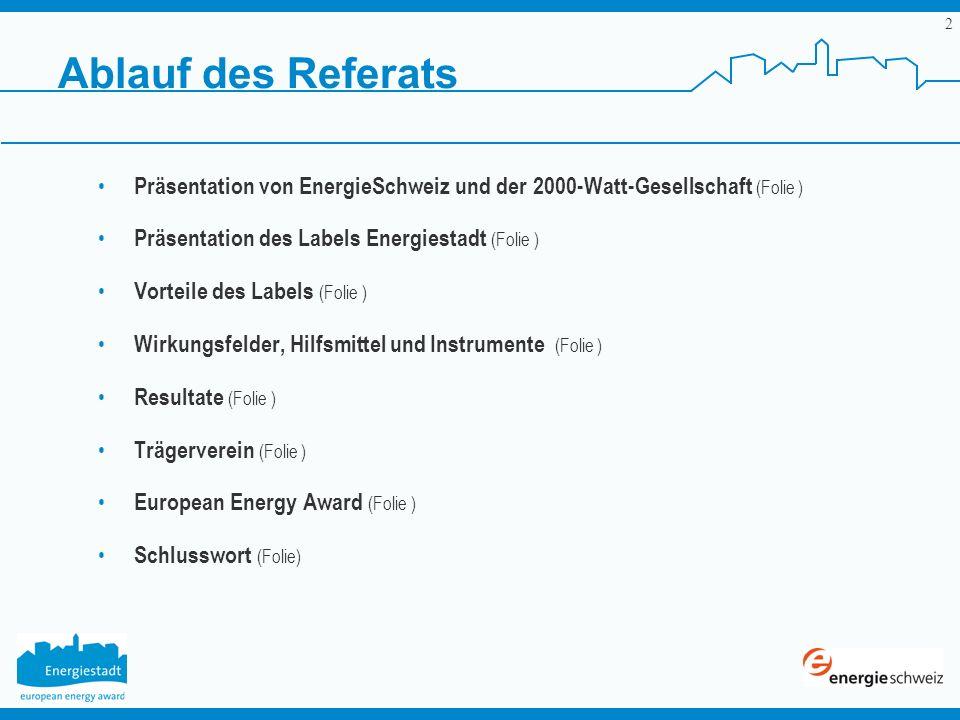 2 Ablauf des Referats Präsentation von EnergieSchweiz und der 2000-Watt-Gesellschaft (Folie ) Präsentation des Labels Energiestadt (Folie ) Vorteile d
