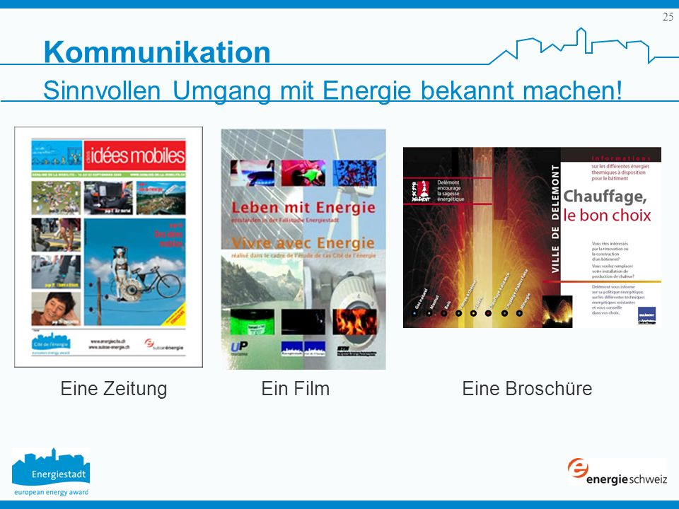25 Kommunikation Sinnvollen Umgang mit Energie bekannt machen! Eine ZeitungEin FilmEine Broschüre