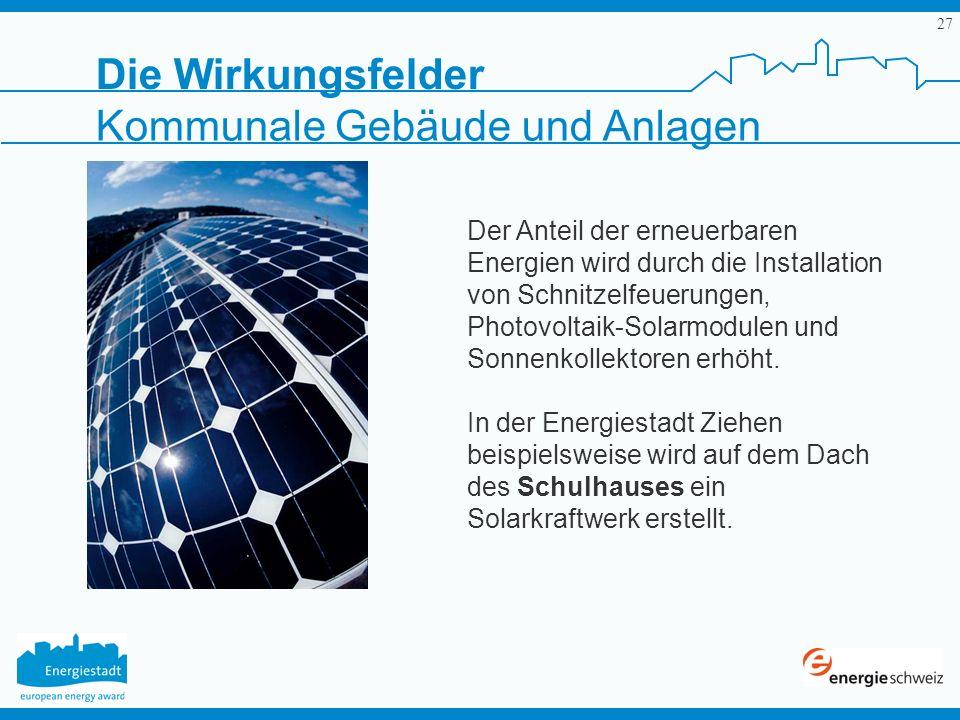 27 Der Anteil der erneuerbaren Energien wird durch die Installation von Schnitzelfeuerungen, Photovoltaik-Solarmodulen und Sonnenkollektoren erhöht. I