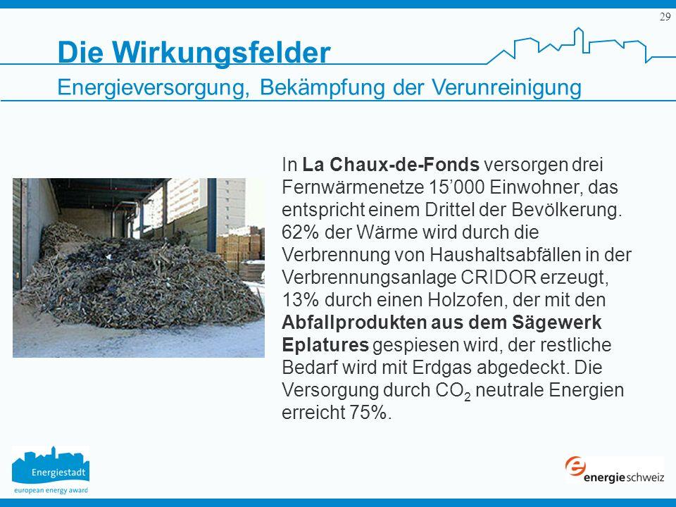 29 In La Chaux-de-Fonds versorgen drei Fernwärmenetze 15000 Einwohner, das entspricht einem Drittel der Bevölkerung. 62% der Wärme wird durch die Verb
