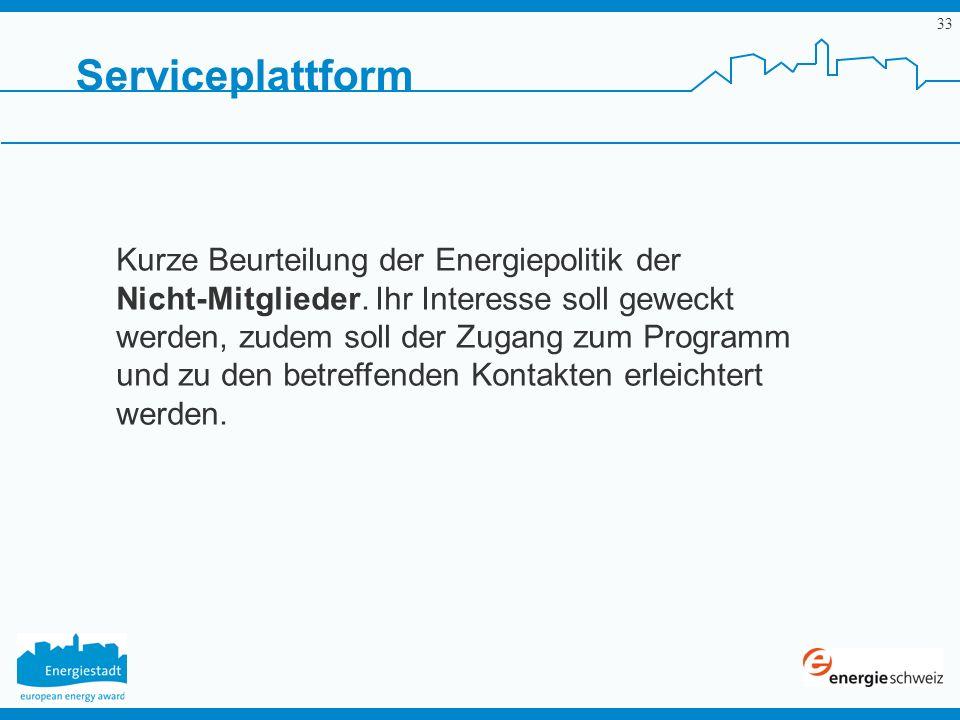 33 Serviceplattform Kurze Beurteilung der Energiepolitik der Nicht-Mitglieder. Ihr Interesse soll geweckt werden, zudem soll der Zugang zum Programm u