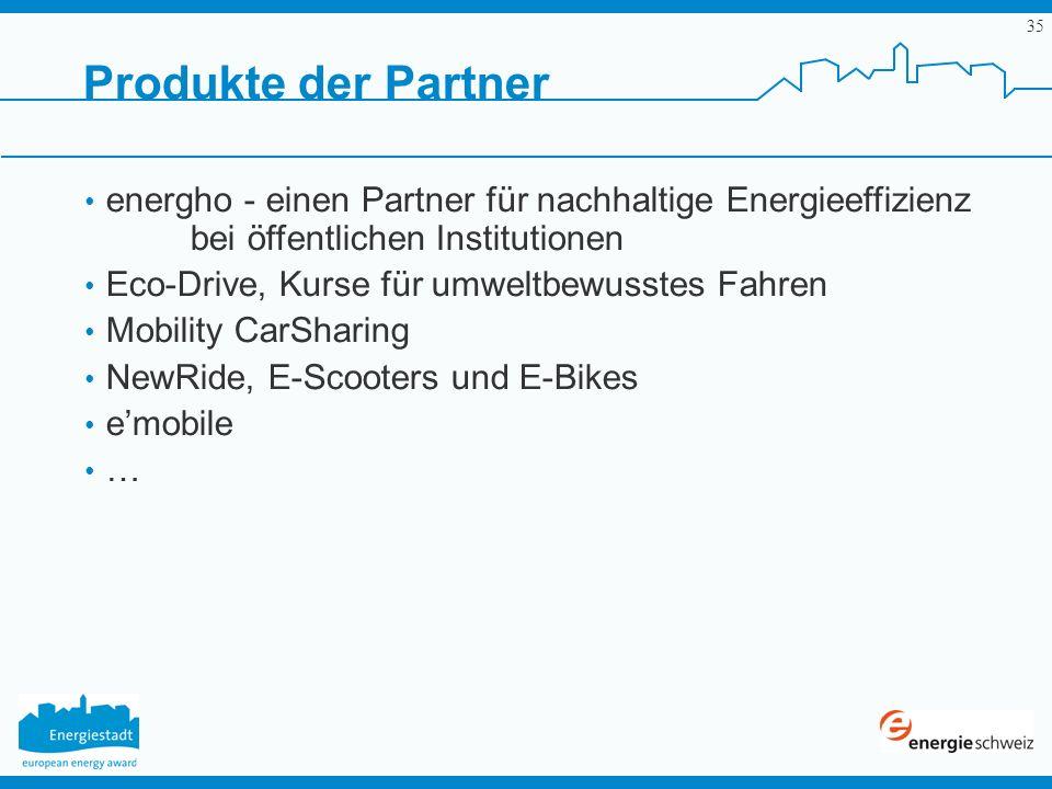 35 Produkte der Partner energho - einen Partner für nachhaltige Energieeffizienz bei öffentlichen Institutionen Eco-Drive, Kurse für umweltbewusstes F