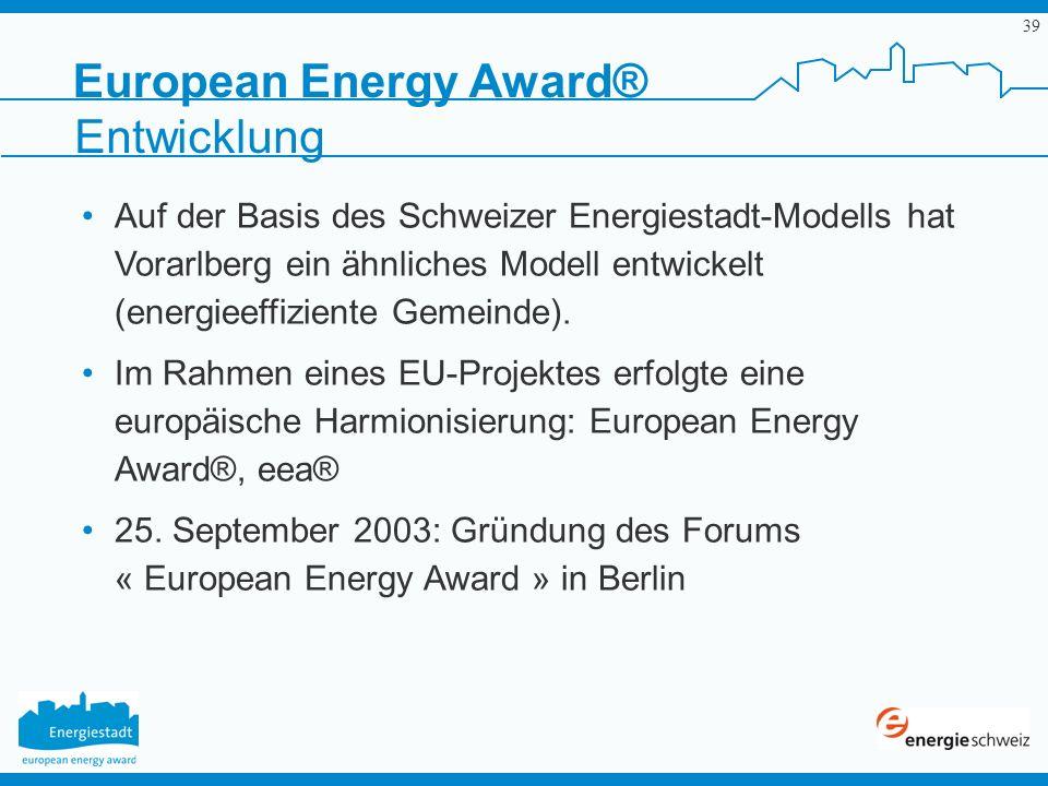 39 European Energy Award® Entwicklung Auf der Basis des Schweizer Energiestadt-Modells hat Vorarlberg ein ähnliches Modell entwickelt (energieeffizien